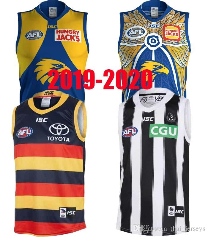 2019 West Coast Eagles Guernsey Adelaide Crows Collingwood Magpies Haus Eddie Betts 300th Ärmel beste Qualität AFL Trikot