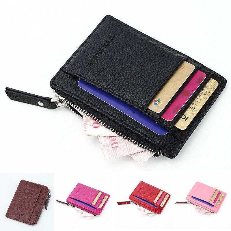 Femmes Hommes Cuir Porte-monnaie Portefeuille D'embrayage Zipper Petit Sac À Change Chaud Vente