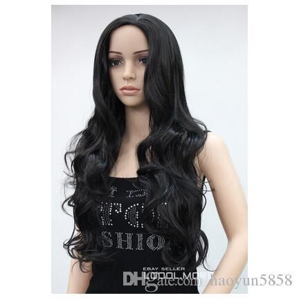 Peluca perruque Мода Натуральный Черный Длинный Волнистый Средняя Часть Женщины Дамы парик LATLC038 для женщин парик