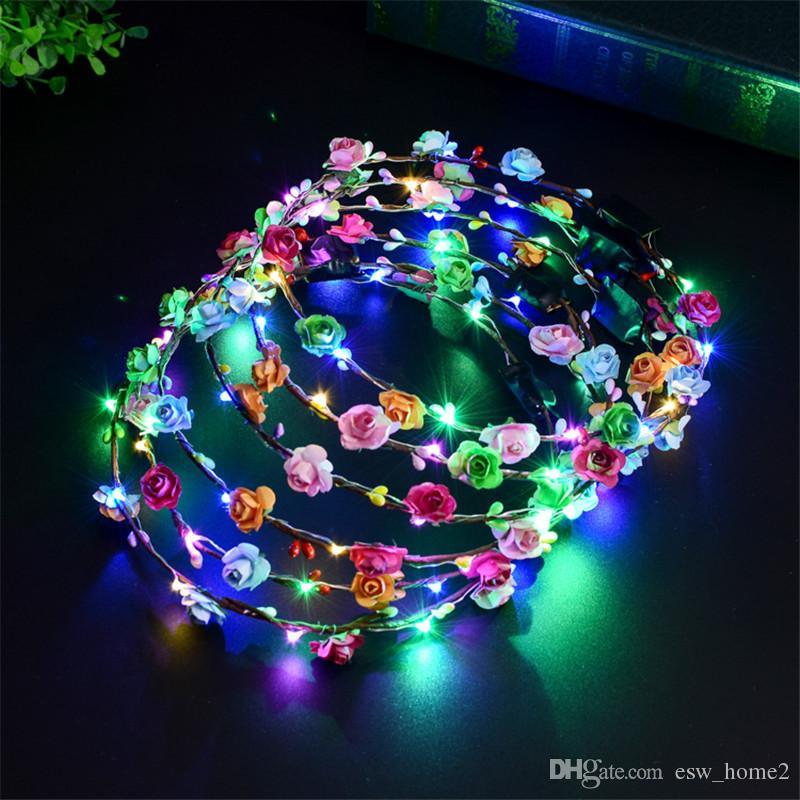 깜박이 LED 머리띠 문자열 광선 꽃 크라운 머리띠 빛 파티 레이브 꽃 머리 갈 랜드 빛나는 장식 화 환