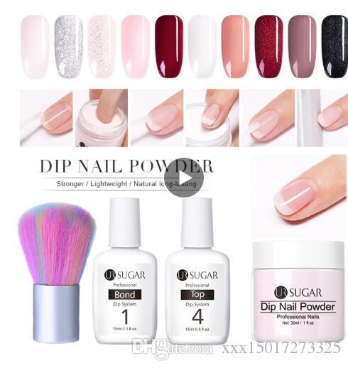 30ml Trempage Ongles En Poudre Naturel Sec Forte Ongles Nail Art Décoration Sans Lampe Cure Base Haut Activateur Liquide