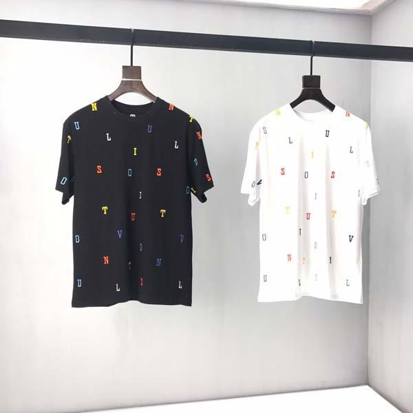 2020 printemps et en été 18SS nouveau T-shirt panneau col rond manches courtes en coton impression de haute qualité Taille: S-l-xl-xxxl- Couleur: blanc noir v20