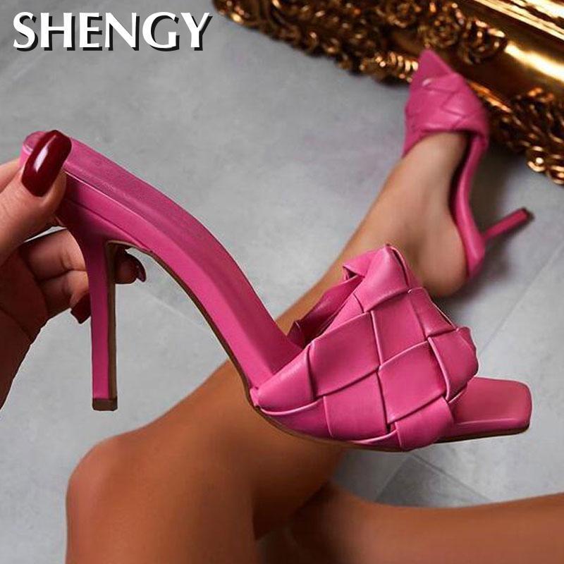 TÍMIDO 2020 Heel verão Mulheres Chinelos Rose Red Weave Praça Toe Chinelos Gladiator Sandals mocassim Salto Alto Slides Shoes