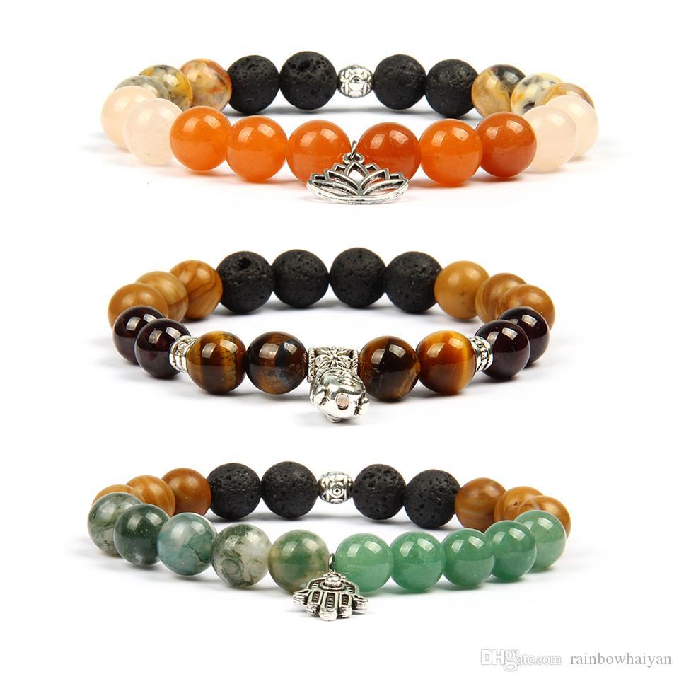 Neue Männer Armbanduhr Schmuck Perlen Tibetischen Buddha Armband Mit 10mm Naturstein Perlen Hamsa Fatima Hand Armbänder