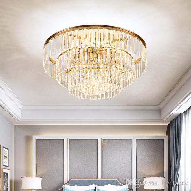 luces de techo araña de superficie del cristal de lujo Europea montado lámparas de iluminación de la lámpara de techo llevado redondo para vivir vestíbulo dormitorio habitación