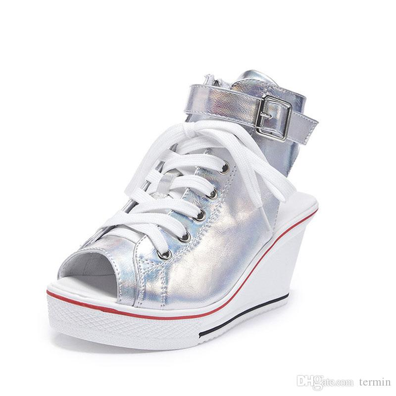 New wedge with fish mouth shoes sandals 8 cm increased casual canvas shoes muffin with lace-up women's shoes .SP-031