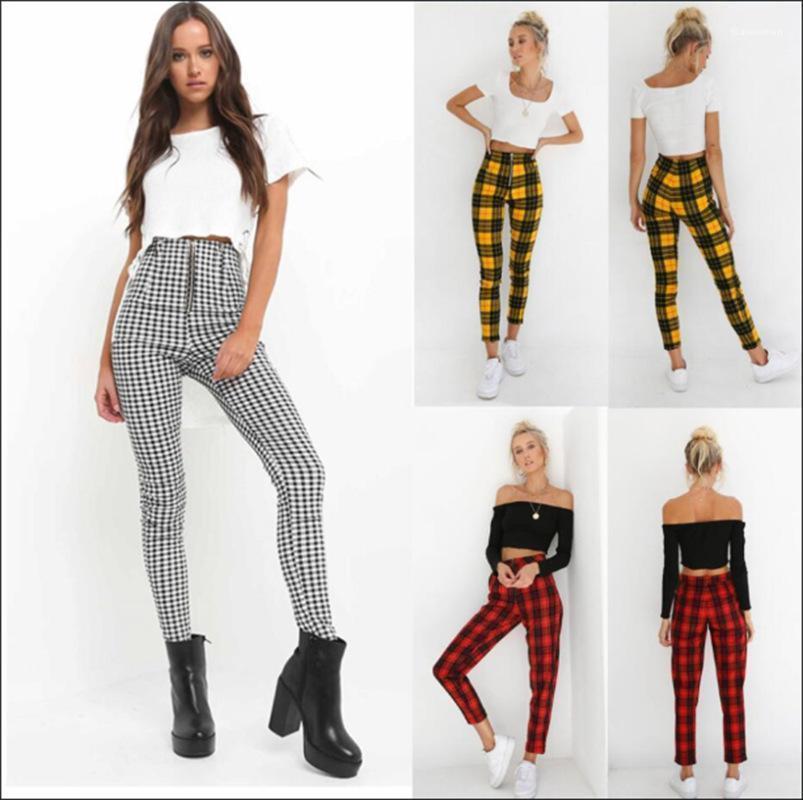Fashion Plaid Printing Zipper Fly High Waist Slim Pencial Pants Casual Women Pants Designer Womens Pants