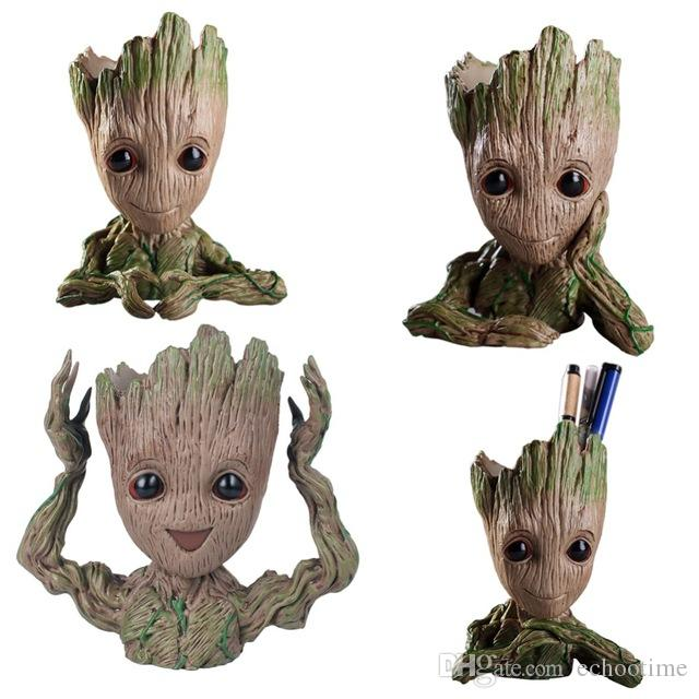 2019 Baby Groot Flower Pot Planter Action Figures Guardians Of The Galaxy Toy Tree Man Cute Model Toy Pen Flower Pots Flowerpot Gift From Echootime
