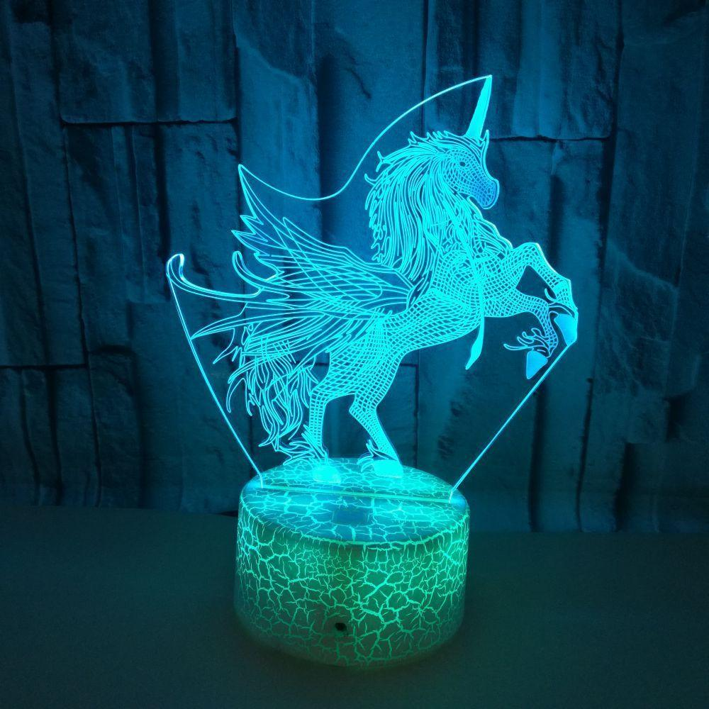 Cross-border Electricity Suppliers Unicorn Colorful Touch 3d Small Night-light Crackle 3d Led Three-dimensional Vision Small Night-light