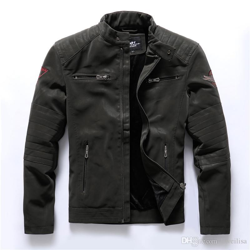 Bombardier Hommes Vestes d'hiver Casual Male Outwear militaire polaire épaisse chaud coupe-vent Veste Hommes Pu cuir Base-ball Manteaux