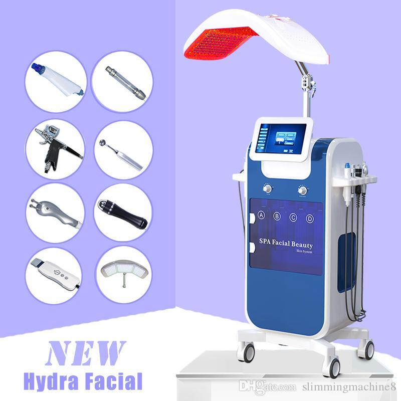8en1 vacío oxígeno Hydro dermoabrasión facial limpiadora de chorro de agua Peel máquina del limpiador del poro HydraFacial Hydra máquina facial PDT LED de 7 colores