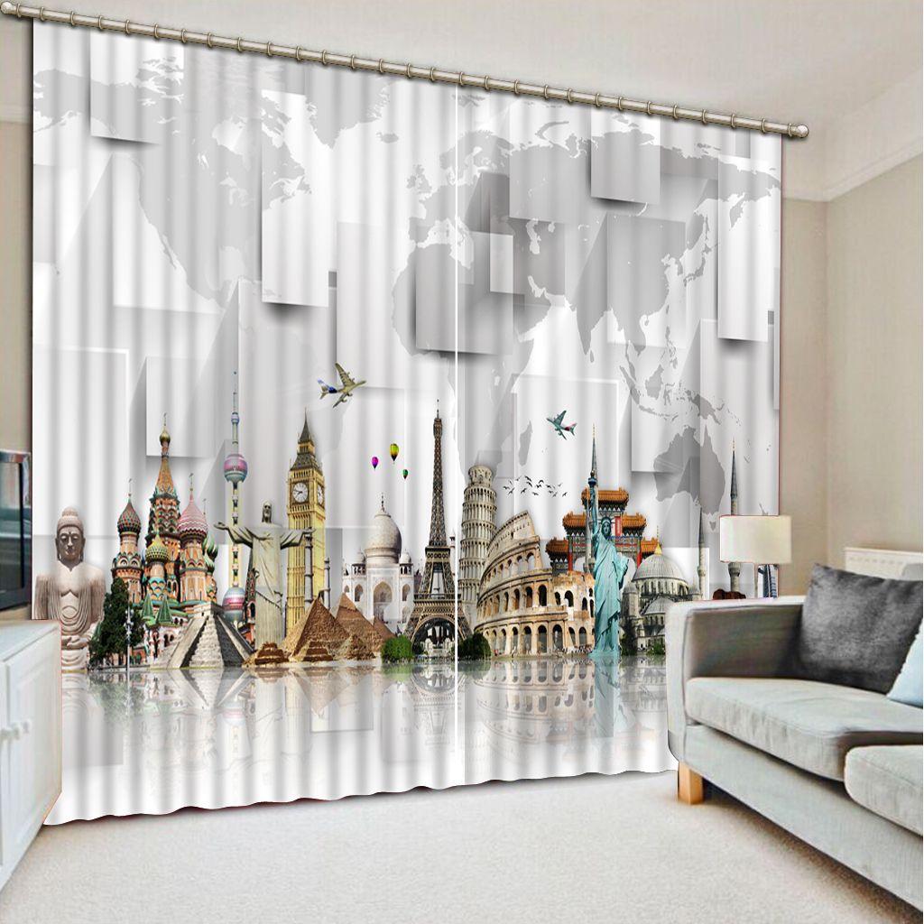 2019 Beautiful Modern City Luxury 3D Window Curtain Living Room Wedding  Bedroom Cortinas Drapes Customized Size From Yeye2000, $199.0 | DHgate.Com