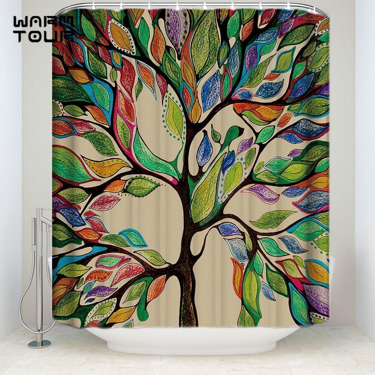 Doccia extra tende colorate Primavera albero della vita resistente alle muffe set da bagno arredamento con ganci lungamente Tessuto da bagno