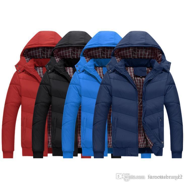 Moda Hombres chaqueta del diseñador abajo cubren invierno caliente grueso Moda con capucha abrigos Sólido Color de la camisa