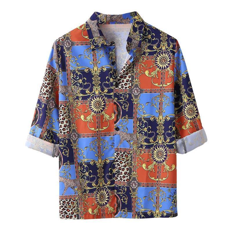 Лето JAYCOSIN мужская мода повседневная нагрудные печати с коротким рукавом футболка топ Блузка мужчины платье пуговица свободного покроя гавайская рубашка смешно