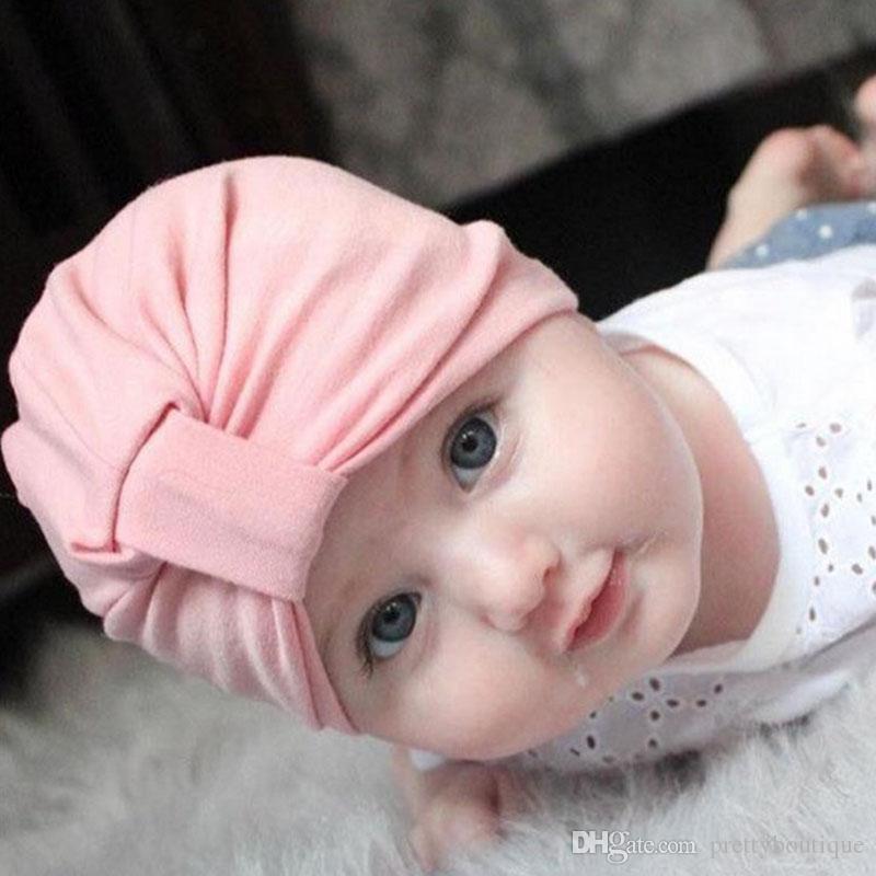 Ребёнки Cute Хлопок Детские Тюрбан шапки для новорожденных аксессуары оголовье шляпы партии детей диапазона волос H33