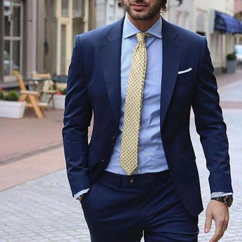 Popular Azul marino Boda para hombre Tuxedos Muesca Solapa Novio Padrino de boda Esmoquin Hombre Chaqueta Blazer Excelente Trajes de 2 piezas (Chaqueta + Pantalones + Corbata) 1450