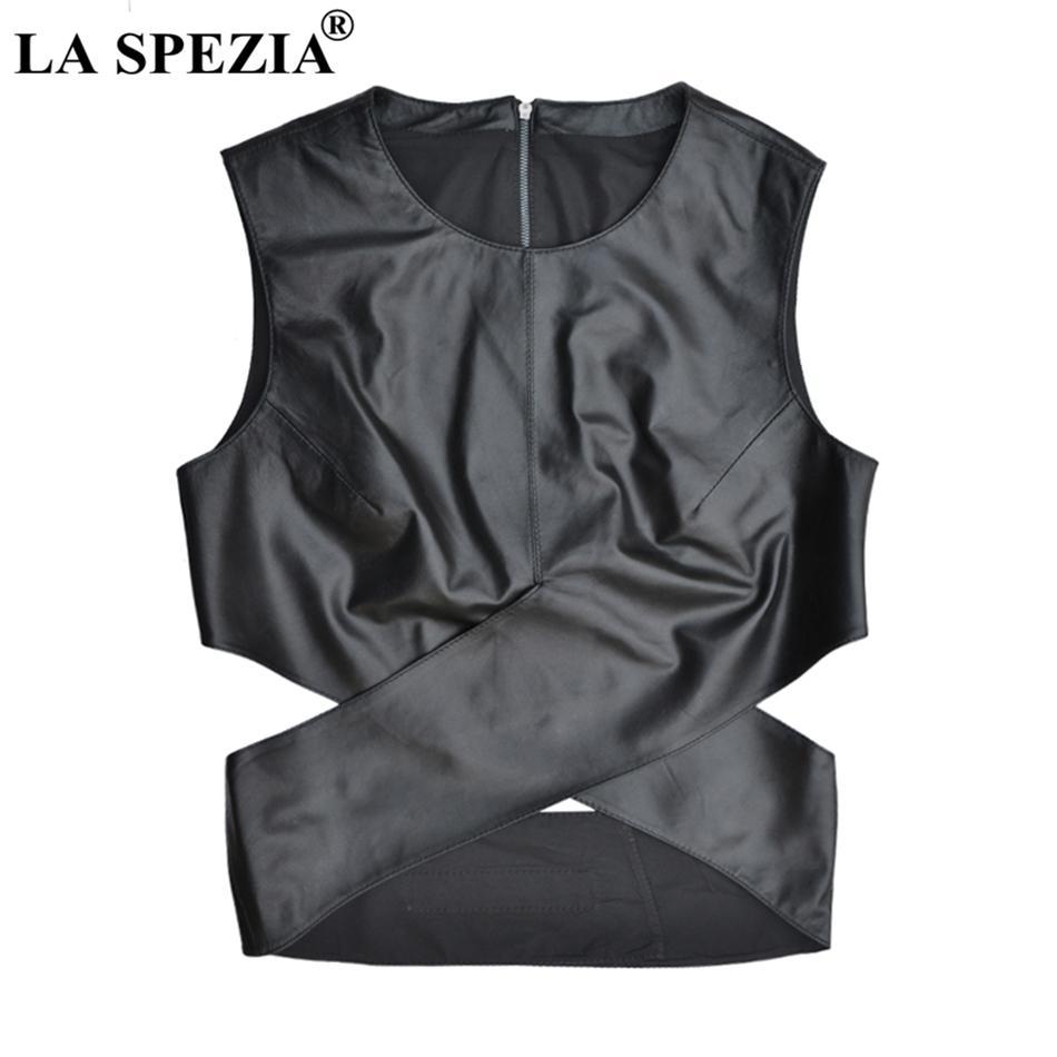 LA SPEZIA جلدية الصدرية للنساء الأسود صالح سليم الصدرية أنثى عارضة أزياء جلدية اصلية الخريف قصير بلا أكمام جاكيتات