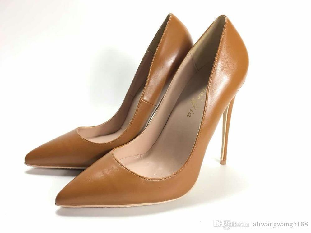 De calidad superior 2019 envío gratis moda mujer sexy marrón Leathe Poined Toes zapatos de tacones HEELED tacones de tacón de aguja zapatos bombas 12 cm 10 cm