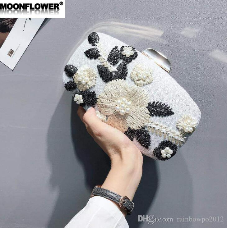 sales brand women handbag sweet embroidery holding a dinner bag 3D flowers Pearl hard box chain bag fashion banquet nightclub holding ba