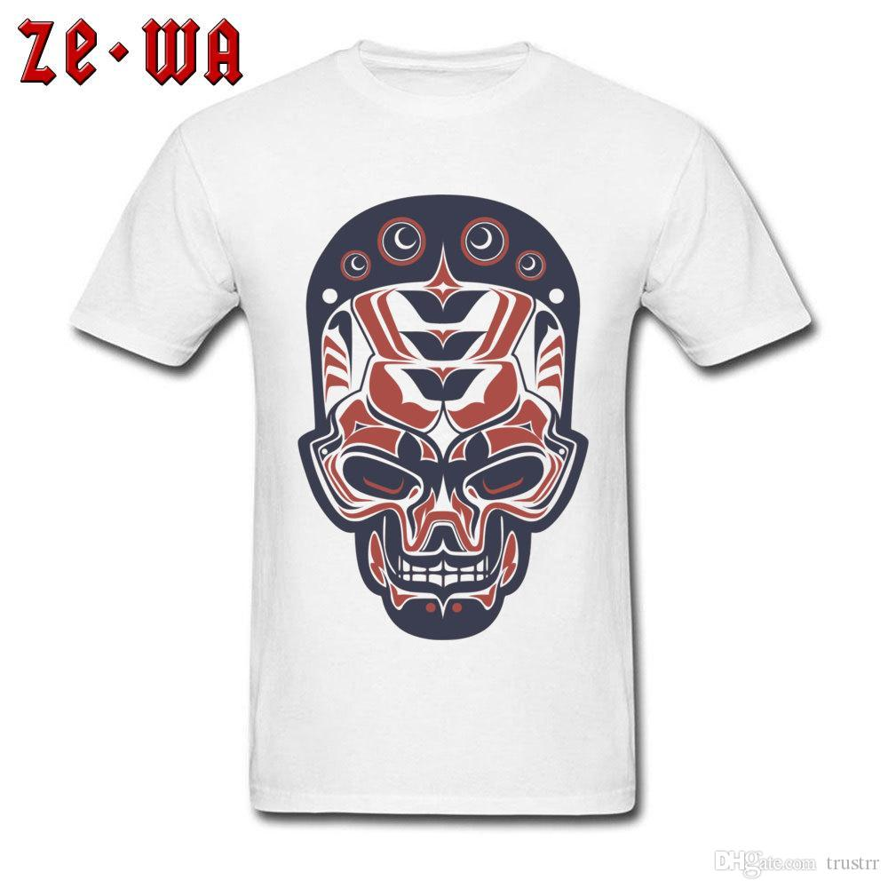 Unique Men T-shirt Tattoo Drawing Indian Skull T Shirt Printed Mens Tshirts Special Summer Fall Cotton Clothes Fitness Tops Tees