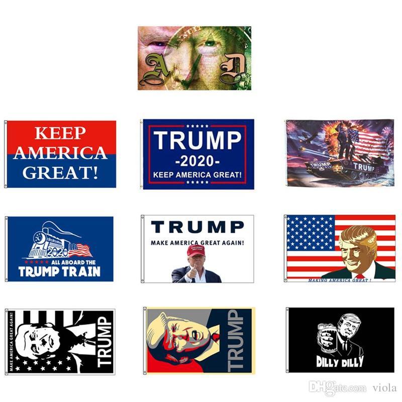 2019 90 * 150 cm Donald John Trump Amercia Flags Cabeça de Poliéster Metal Grommet Personalidade Decortive Trump Bandeira Bandeira Frete Grátis