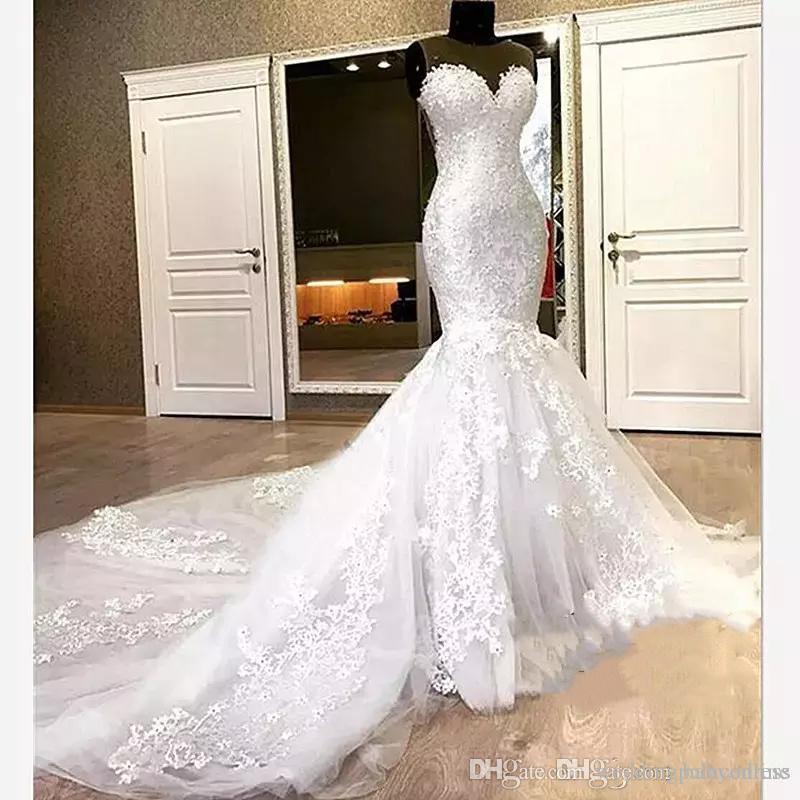 Элегантные русалка кружева свадебные платья адиовизоры бусины возлюбленные длинные часовня промежуточный шеи свадебное платье для женщин Vestido de Noiva