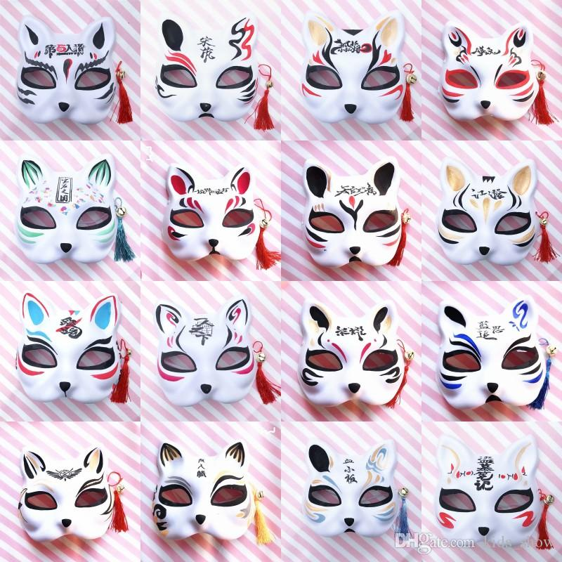 Hand-Painted Cat Fox Shape Masks Japanese Anime COS Cat Fox Mask With Tassel Bells Half Face Halloween Masks