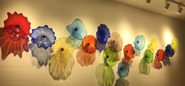 Горячая продажа рука выдувные стеклянные пластины для украшения стен стиль многоцветный муранского стекла подвесные плиты стены искусства индивидуальные цвет размер