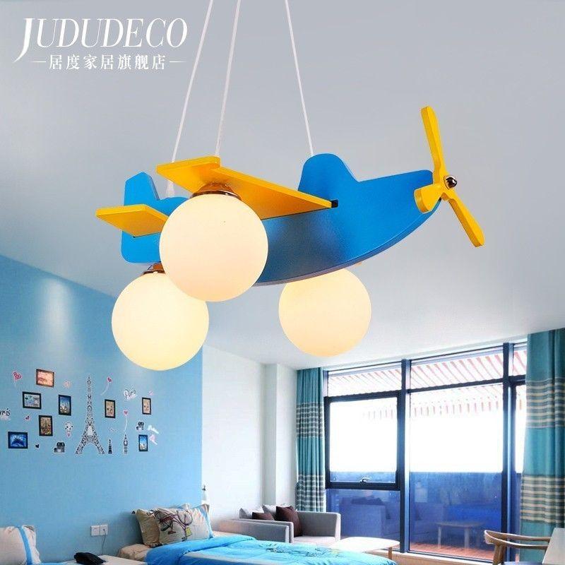 Lámpara de avión Casa de los niños Araña de dibujos animados Niño Chica Juguete Helicóptero Conciso Moderno Dormitorio Led Mediterráneo