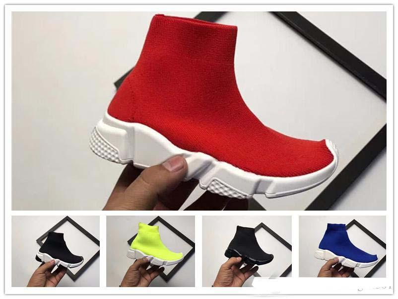 2018 Yeni Lüks Çorap Hız Koşucu Eğitmen Koşu Ayakkabıları Siyah Kırmızı Çocuk Sneakers Yarış İkincisi Moda Rahat Üst Çizmeler Boyutu 28-35