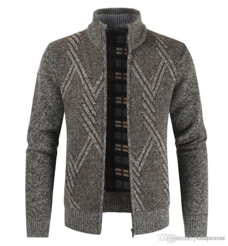 Chaqueta de punto de invierno para hombre de los suéteres de manga larga del collar del soporte del remiendo del Mens del color suéteres ocasionales adelgazan Hombre Prendas de abrigo