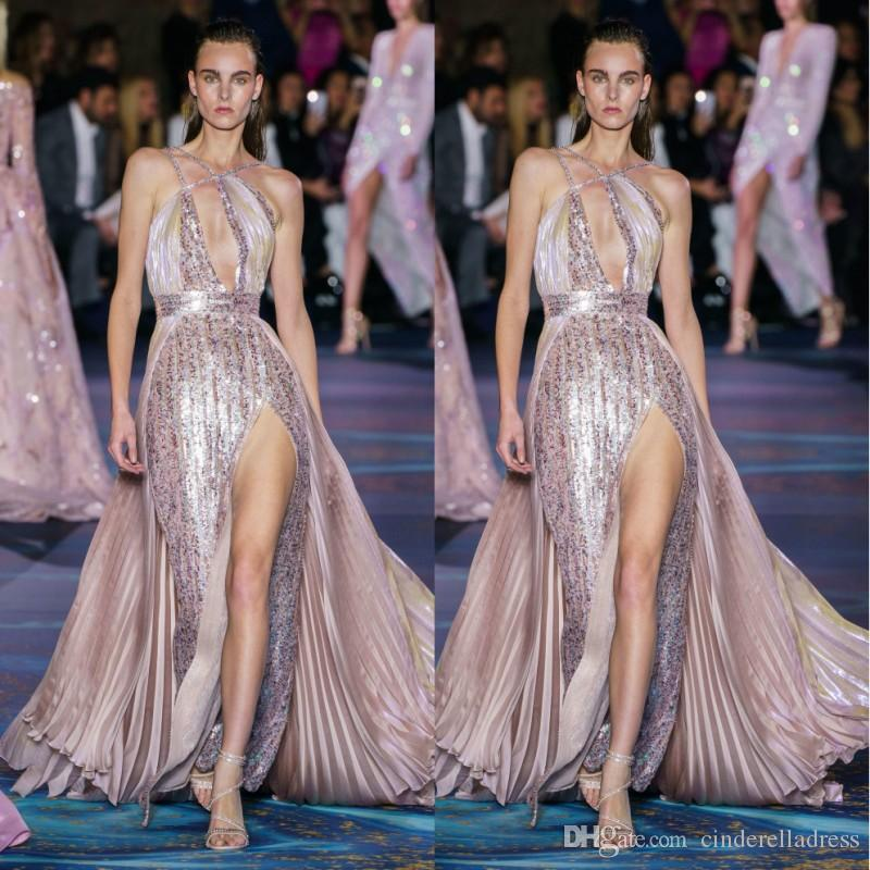 2020 Sparkly Sexy Split Zuhair Murad Sequined Evening Dresses Halter Neck Wrinkle Ruffle Prom Gowns Plus Size Pageant Runway Dress