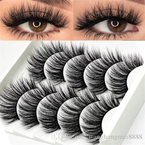5 pares de pestañas de visón 3D largas extensiones de pestañas naturales largas falsas falsas gruesas mixtas herramientas de maquillaje individuales pestañas de belleza más nuevas