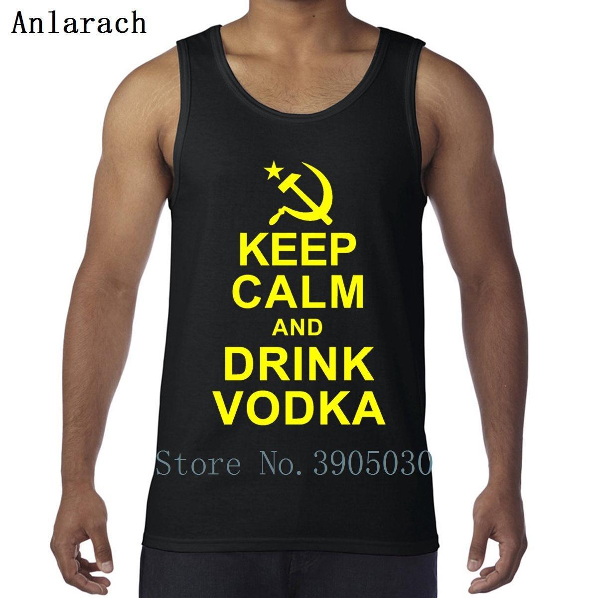 Halten Sie Ruhe Getränk Wodka russische Sportwesten normales Training Frühjahr Herbst Herren-ärmelloses T-Shirt Baumwolle Bodybuilding Art und Weise erstellen
