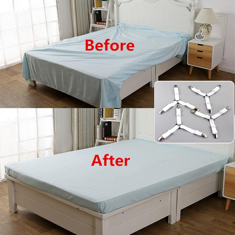 HK 4Pcs Elastic Cover Blanket Grippers Holder Bed Sheet Clip Mattress Fasteners