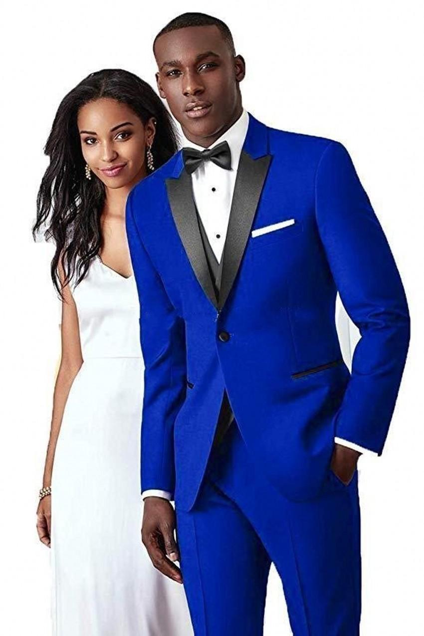 Brand New Royal Blue Groom Tuxedos черного пик отворот дружка Свадьба 3 шт костюм мужчины Бизнес Пром куртка Blazer (куртка + штаны + Tie + Vest) +781
