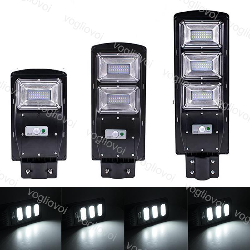 أضواء الأمن الشمسية استشعار الحركة ضوء شارع 30W 60W 90W IP67 للماء الأسود ABS مع القطب للحديقة بارك الطريق الطريق dhl