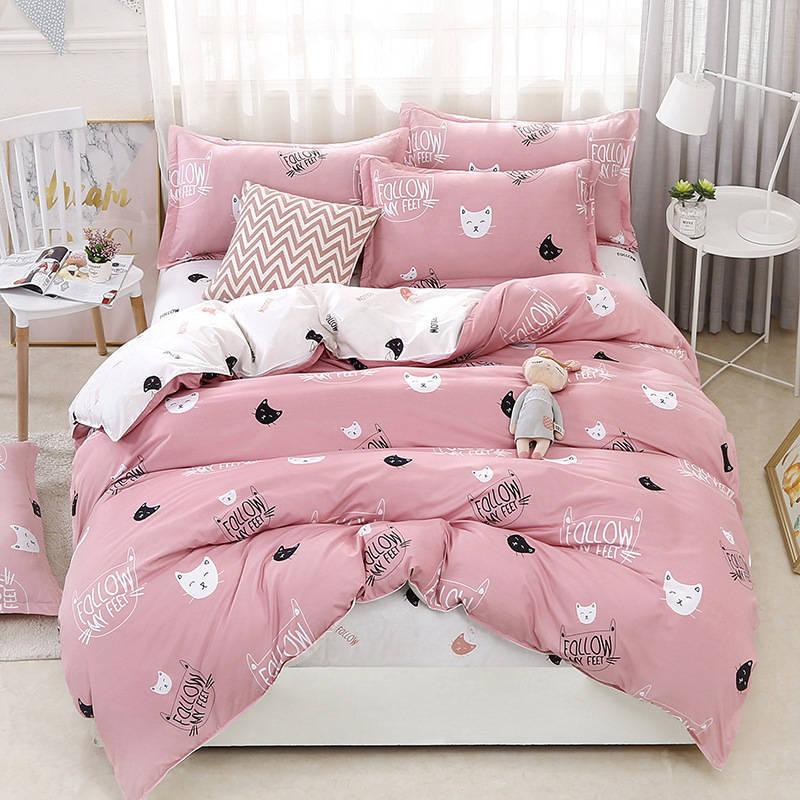Cute Cat 4pcs Girl Boy Kid Bed Cover Set Duvet Cover Adult Child Bed Sheets And Pillowcases Comforter Bedding Set 2TJ-61009