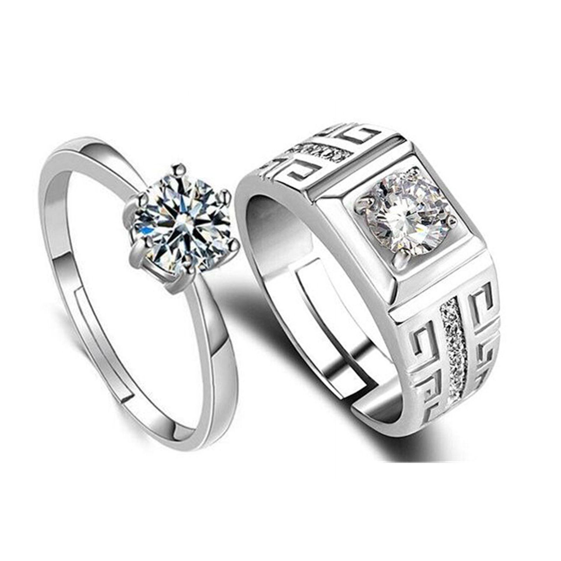 30% de hombres y el anillo de plata par femenina de alta calidad par de circón Anillo de plata boda del compromiso de la mitad apertura ajustable envío libre