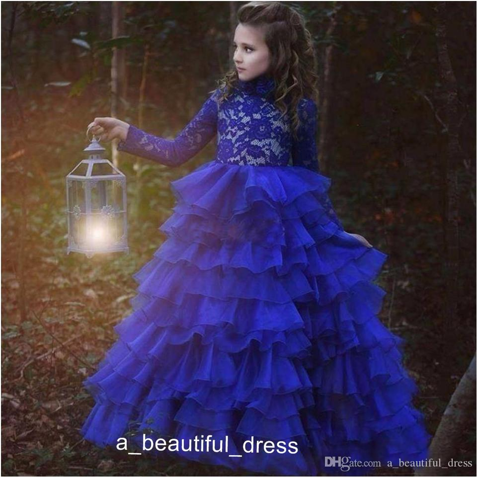 Flower Girls Dresses For Weddings Illusion Lace Appliques Long Sleeves Tiered Ruffles Ball Gown Birthday Children Girl Pageant Gowns FG1311