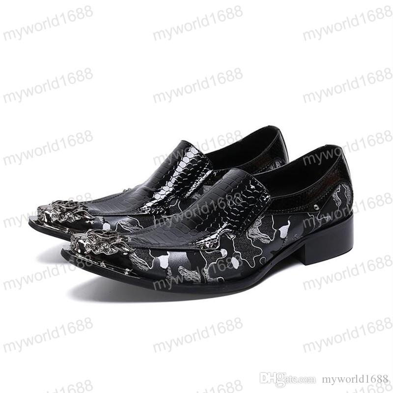 Мужская классическая обувь Paty Кожаные свадебные туфли с острым носом Металлический носок Мужские балетки Кожаные оксфорды Формальная обувь