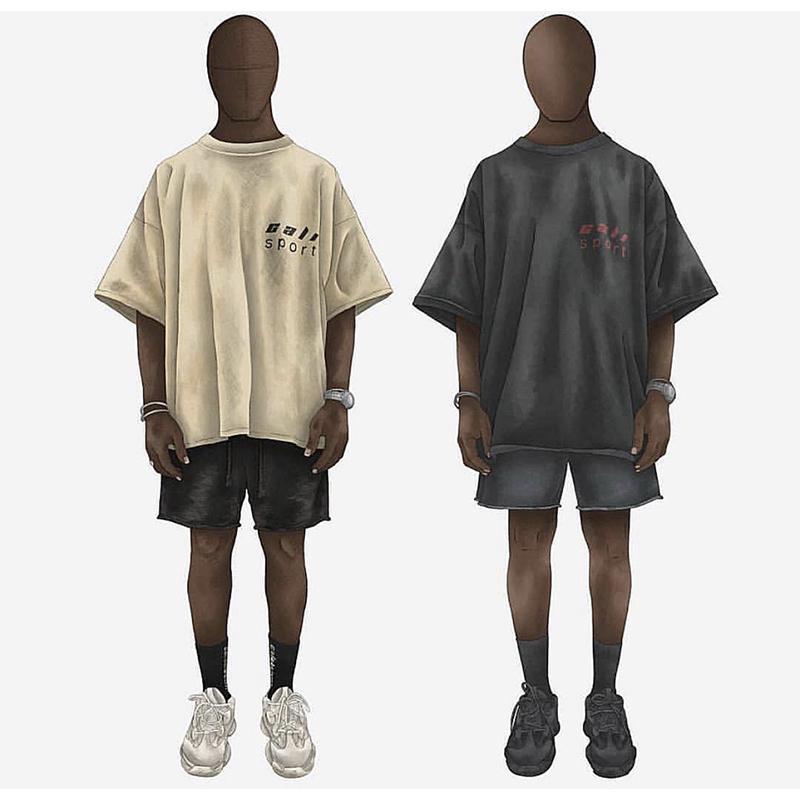 Season6 T-shirt do emblema bordado Kanye esporte chamada bege algodão soltos preto escuro T-shirt verde Season6 hip-hop das mulheres dos homens T-shirt Y200422