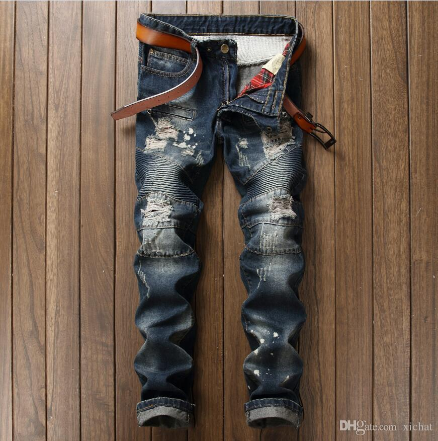 unique Men's Labeling hole style straight Jeans Fashion Designer Slim Motorcycle Causal Denim stitch creases style jeans free shipping 003-8