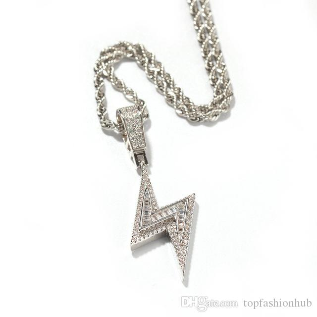 Hip-hop, Erkekler Zirkon Yıldırım kolye Karışık Kare Zirkon buzlu Out Rhinestone Kristal Hip Hop kolye zinciri