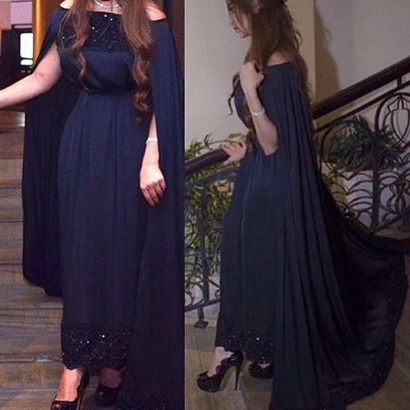 Navy Blue Prom Dresses with Cape A Line Sexy Off the Shoulder Lace Applique Custom Made Chiffon Evening Gown Formal Occasion Wear