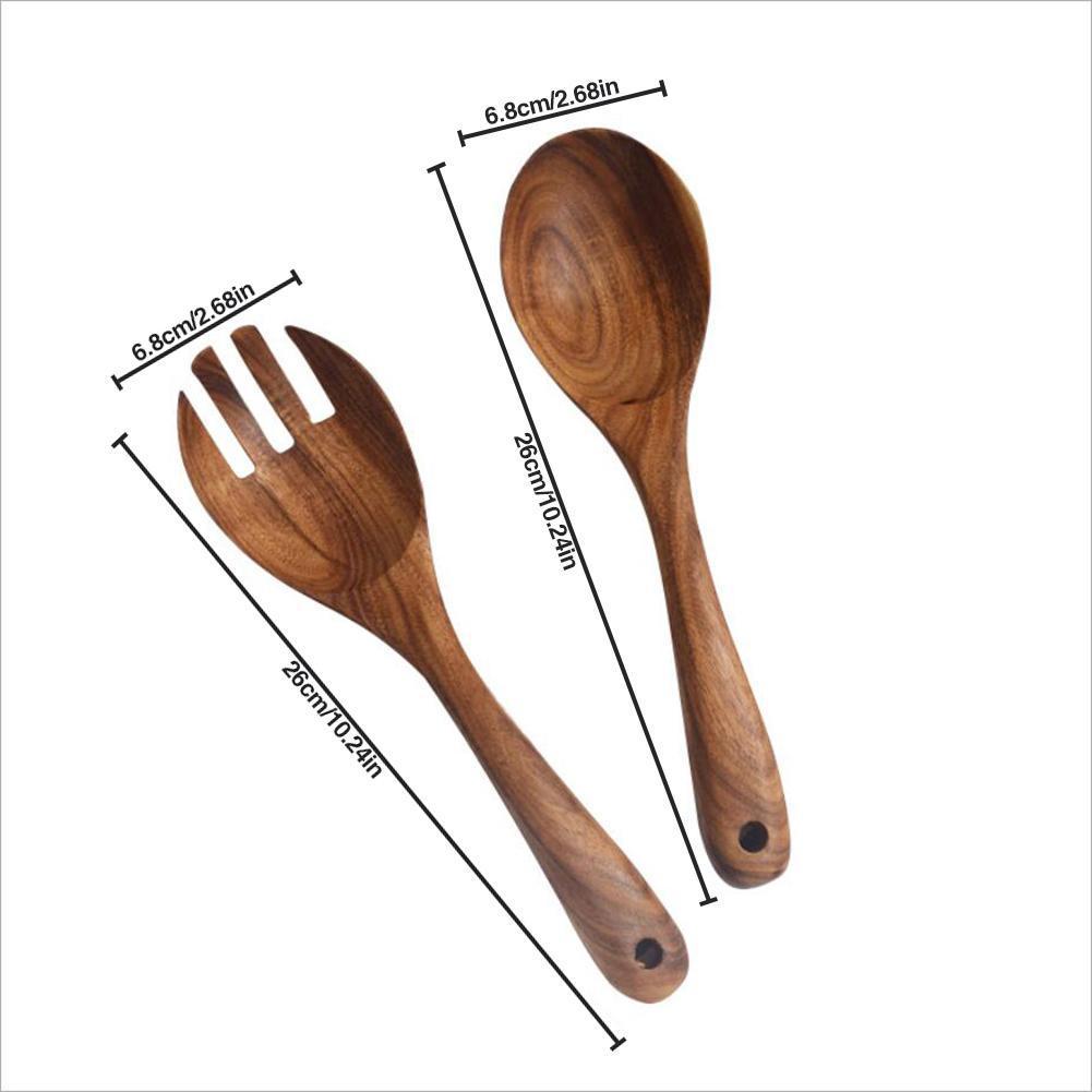 2 piezas de servidores de ensalada de madera de Acacia Utensilios de cocina cucharas de cocina de madera cultery Herramientas cucharada cocina de catering