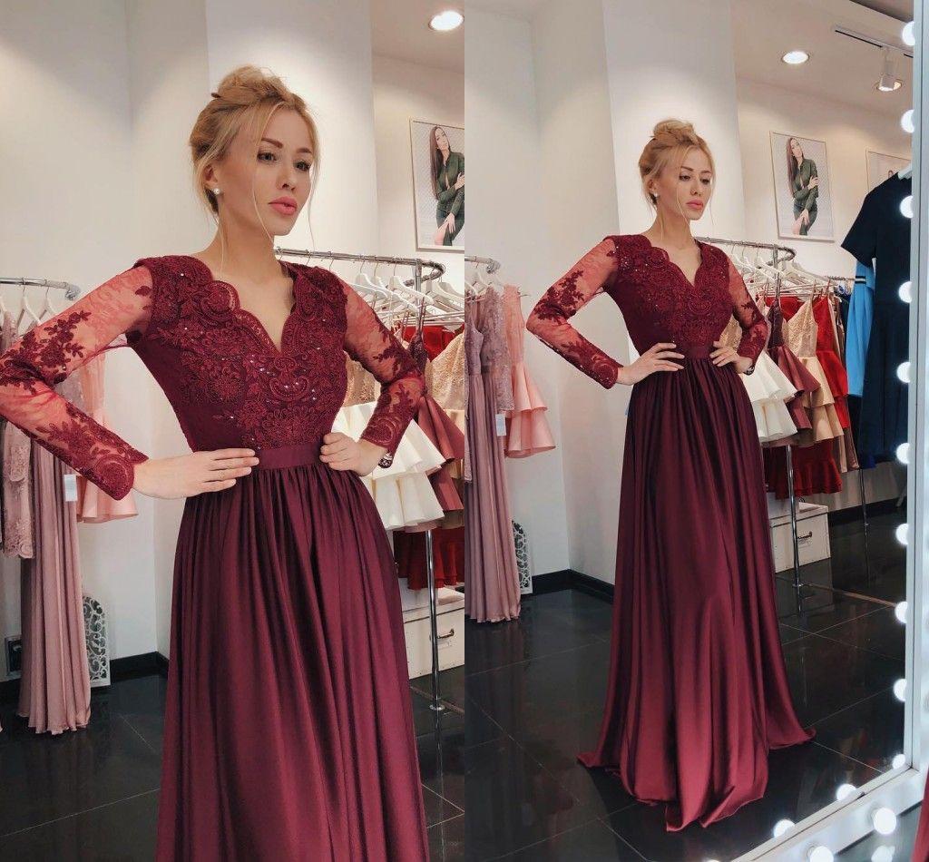 großhandel mode mit langen Ärmeln spitze abendmutter kleider formale  kleider v ausschnitt weinrot applique pailletten lange günstige promi  pageant