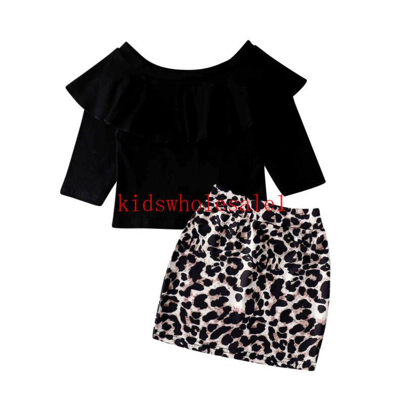 Omuz Kapalı 2PCS Bebek Çocuk Kız Bebek Giyim Giyim Setleri Mini Etekler Set Print Leopard + T-shirt Tops
