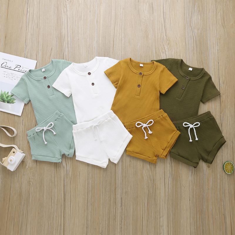 Moda estate appena nati neonate dei ragazzi del vestito a costine di cotone casuale Maglie a manica corta T-shirt + shorts infantili Outfit Set